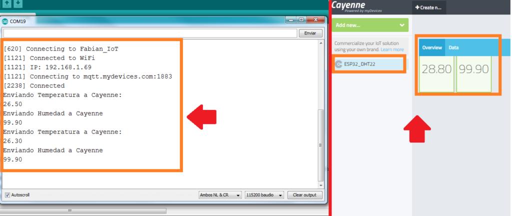 Cayenne IOT ESP32 DHT22